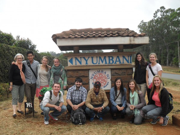 Susan Gold with her global health students in Kenya in 2014. (Photo by Theo Loo.)
