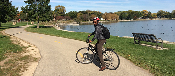 Bahir Dar University's Yimer Degu Ayicheh could see and feel what bicycle safety felt like when he visited Madison. He's working with the Global Health Institute to develop a bike-friendly plan for Bahir Dar.