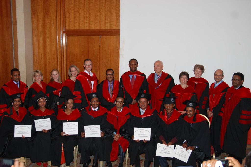 Seven doctors graduated from Ethiopia's first family medicine residency program on February 4, 2016, in Addis Ababa, Ethiopia. Graduates holding diplomas in the first row include, left to right, Elnathan Kebebew, Sena Dhugasa, Meseret Zerihun, Murutse Atsebaha, Assefa Alamirew, Assegid Geleta, and Assefa Beyene.