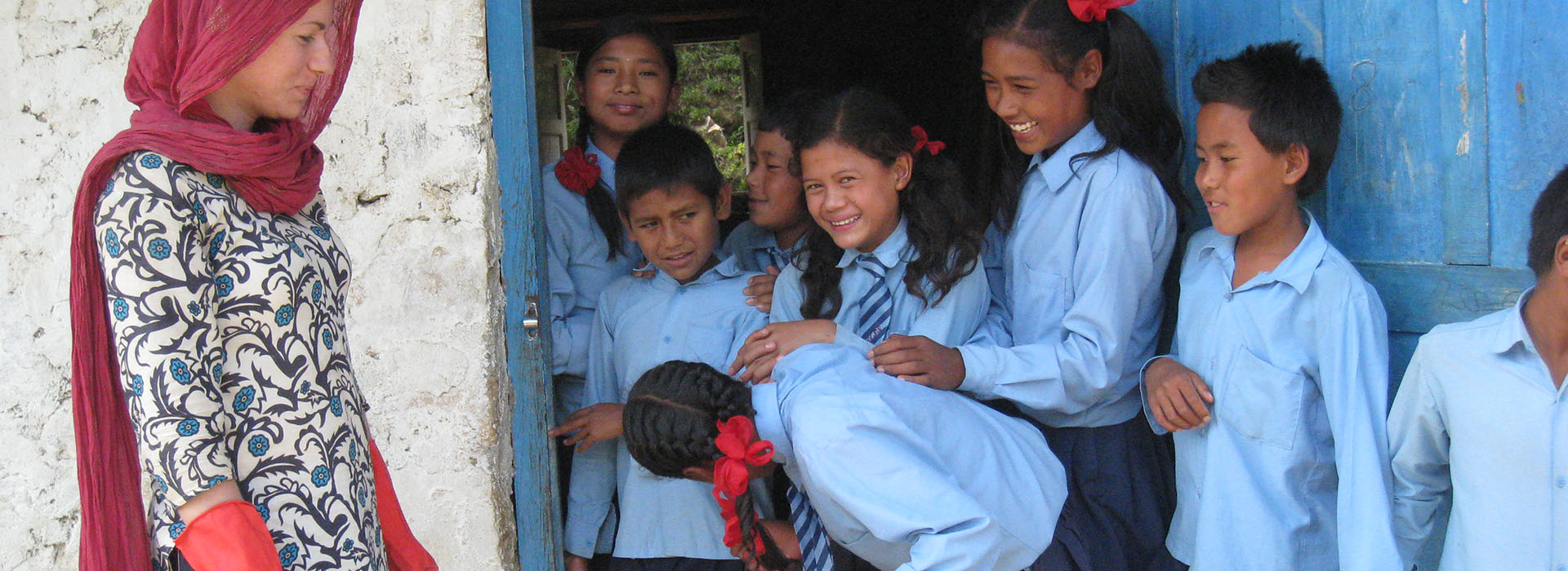 Smiling school-children in South America