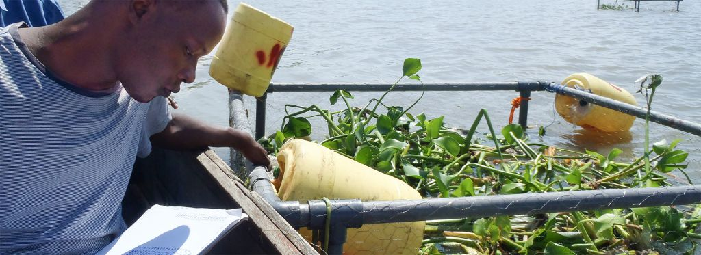 Student checks plants in a cage made of pipes in Lake Victoria. He has on a blue shirt, and there are yellow buoys.