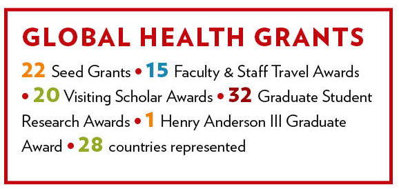 a chart with the number of grants awarded: 22 Seed Grants, 15 faculty and staff travel awards, 20 visiting scholar awards, 32 graduate student research awards, 1 Henry Anderson III graduate award, 28 countries represented
