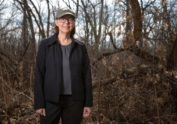 Susan Paskewitz, professor and chair in the Department of Entomology, is pictured here in the UW Arboretum, the site of ongoing research on control strategies for two common vectors — ticks and mosquitoes. Paskewitz is also a member of the GHI Advisory Committee.