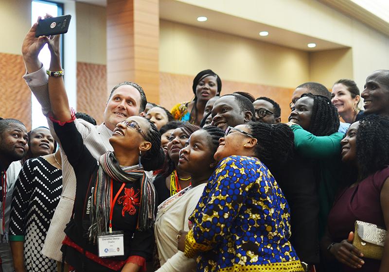 A group of Mandela Scholars pose together for a selfie
