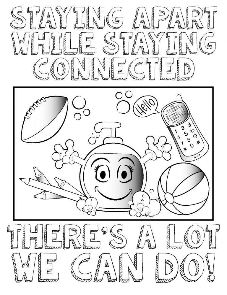 A cartoon picture of a soap dispenser with a football, cellphone and beach ball.
