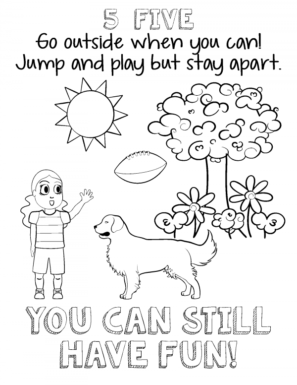 A girl and her dog with a tree, flowers, a sun and football