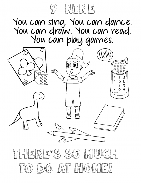 A cartoon girl is surrounded by cards, a cell phone, a toy dinausaur, colors and a book.
