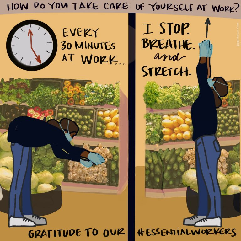 A worker fills produce bins at a grocery store and takes time to stretch.
