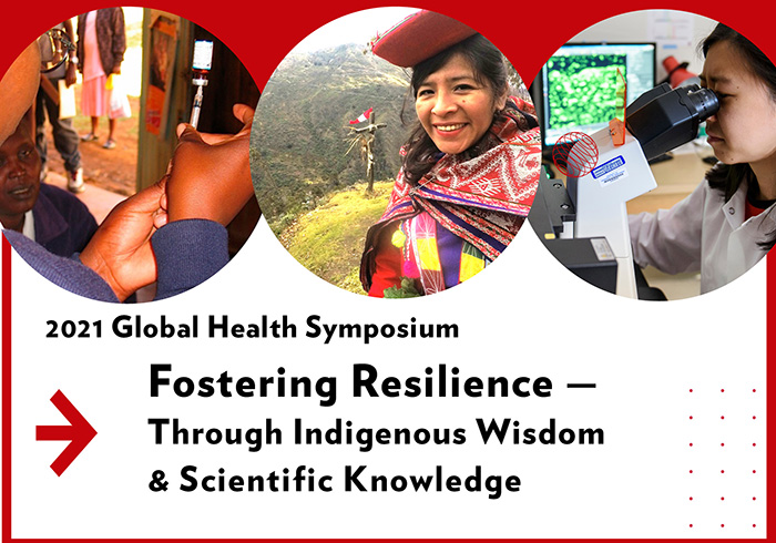 Three photos along the top show a woman with a vaccine neeld, a woman in a Peruvian field and a woman at a microscope.