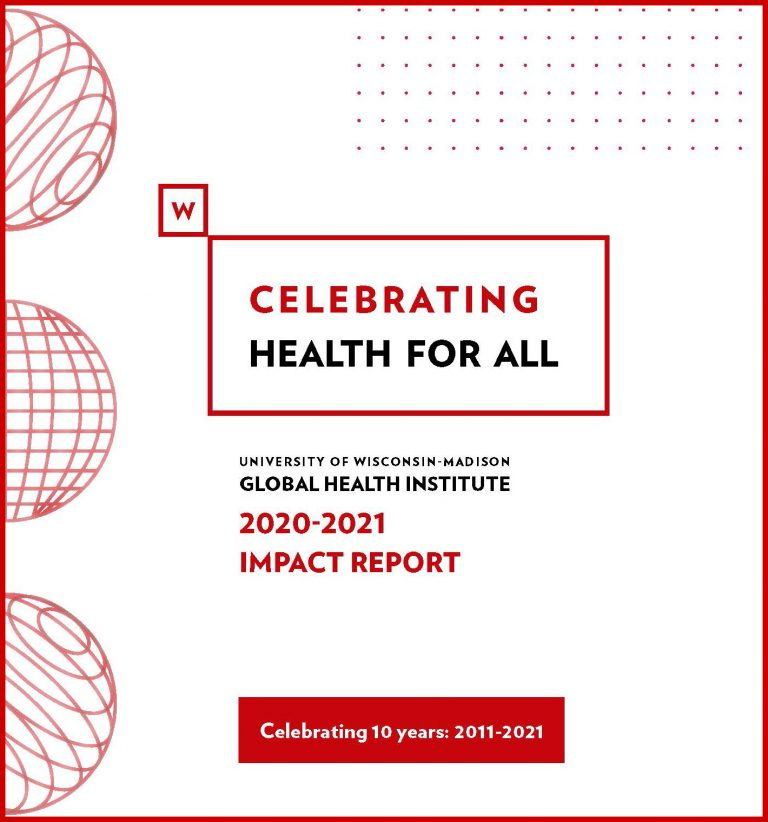 Cover of 2020-2021 Impact Report with three globes and dots